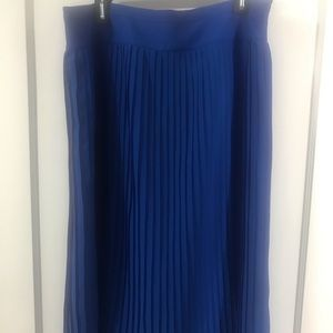 J.Crew blue pleated midi skirt
